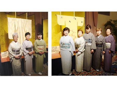 宮中内掛・小袖の前で記念写真。時代を越えて新旧「和」のコラボレーション!