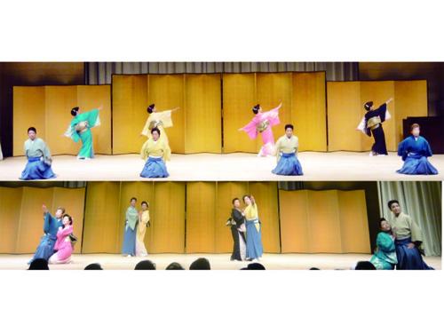 男性の袴の着つけ舞い・女性の着つけ舞い きりりとした袴姿と、角出しを結んだ女性の着つけ舞い「もらい泣き」の音楽に合わせてスピード感あふれる男女着つけ舞いのコラボレーション!に会場は釘づけでした。