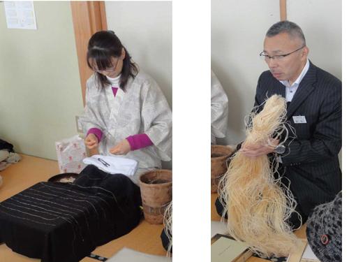 麻織物・越後上布の糸を作る作業。 苧麻(ちょま)と呼ばれる植物繊維 を手で裂いて結び、糸を形成します。